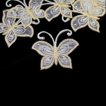 Nažehlovačka motýl šifón smetanovobílý