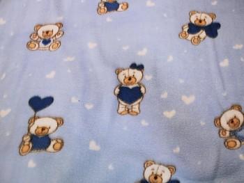 Látka fleece SVĚTLE MODRÝ / medvídci