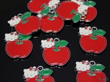 Kovový přívěšek Hello Kitty s jablíčkem, 1ks