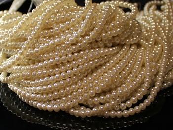 Korálky voskované perly 4mm SMETANA