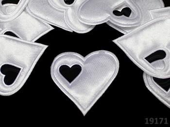 Aplikace saténová srdíčko v srdci BÍLÉ, bal. 5ks