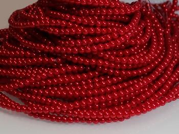 Voskované perly 10mm ČERVENÉ