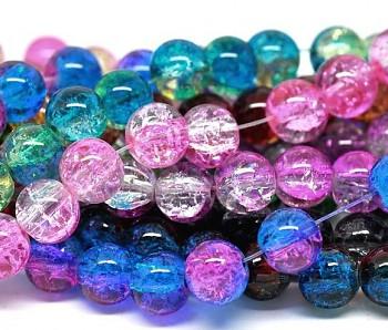 Pestrobarevný MIX korálky práskané 10mm, bal. 80ks