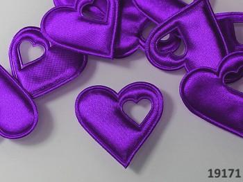 Aplikace saténová srdíčko v srdci TMAVĚ FIALOVÉ, bal. 5ks
