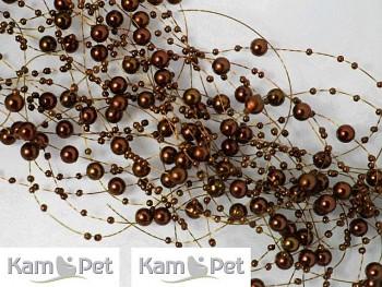 HNĚDÉ perličky na silonu korálky k dekoraci 130cm, 1 šňůra