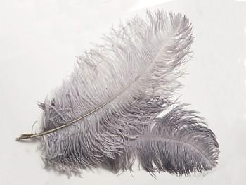 Obrovské pštrosí pero přírodní šedé,  40-50cm, á. 1ks