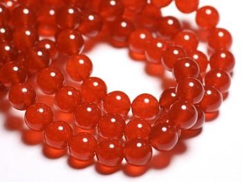 Přírodní JADEIT tmavý oranž, kuličky 10mm, bal. 4ks