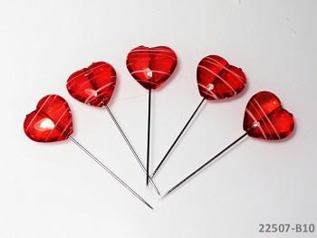 Dekorační špendlíky červené srdce