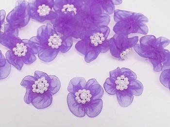 Aplikace květinka světle fialová, bal. 5ks