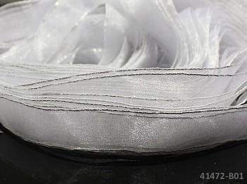 Stuha organzová BÍLÁ se stříbrným lemem, á 1m