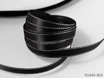 ČERNÁ stuha atlasová 6mm stříbrný lem oboulíc, á 1m