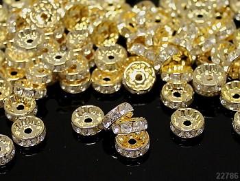 Korálky štrasové rondelky s krystalky zlaté ČIRÉ 10mm bal. 5ks