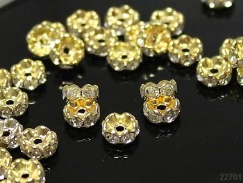 Korálky štrasové rondelky s krystalky zlaté ČIRÉ 6mm bal. 10ks
