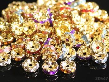 Korálky štrasové rondelky s krystalky zlaté MIX 7mm bal. 10ks