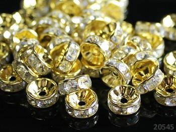 Korálky štrasové rondelky s krystalky zlaté ČIRÉ 8mm bal. 10ks