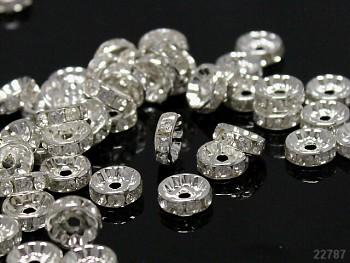 Korálky štrasové rondelky s krystalky ČIRÉ 10mm bal. 5ks