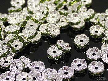 Korálky štrasové rondelky s krystalky ZELENÉ 8mm bal. 5ks