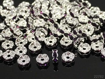 Korálky štrasové rondelky s krystalky FIALOVÉ 8mm bal. 5ks