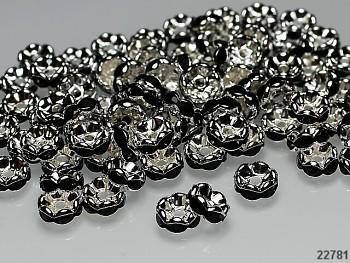 Korálky štrasové rondelky s krystalky ČERNÉ 8mm bal. 5ks
