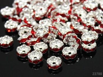 Korálky štrasové rondelky s krystalky ČERVENÉ 8mm bal. 5ks