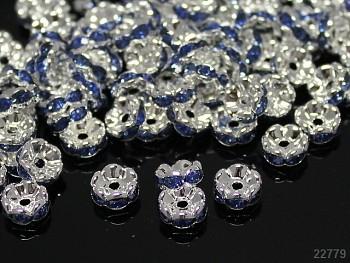 Korálky štrasové rondelky s krystalky SVĚTLE MODRÉ 8mm bal. 5ks
