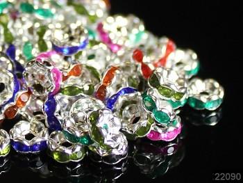 Korálky štrasové rondelky s krystalky MIX 6mm bal. 15ks