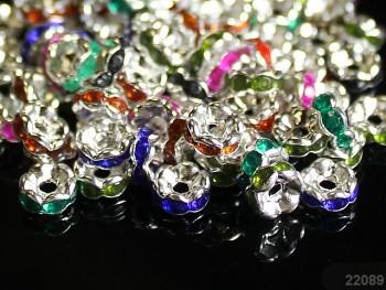 Korálky štrasové rondelky s krystalky MIX 5mm bal. 15ks