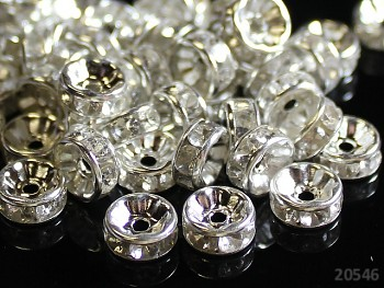 Korálky štrasové rondelky s krystalky ČIRÉ 8mm bal. 10ks