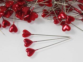 Dekorační špendlíky červené srdce, bal. 10ks