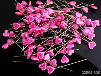 Dekorační špendlíky růžové srdce, bal. 10ks
