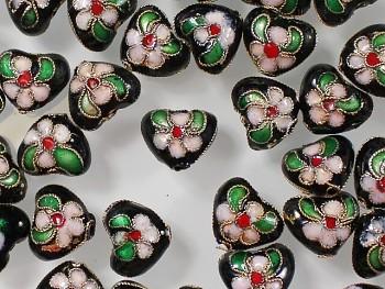 ČERNÉ Korálky Cloisonné srdce kovové korálky