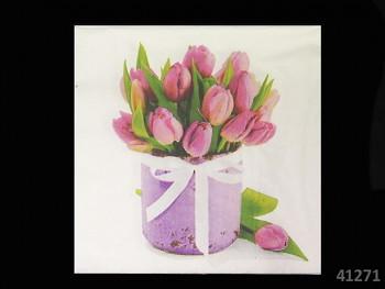 BÍLÉ svatební ubrousky / tulipány 33x33cm, 1ks