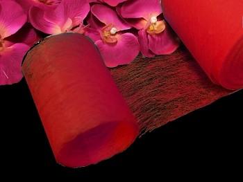 ČERVENÝ vlizelín 10cm k dekoraci, aranžmá, á 1m
