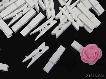 BÍLÉ dekorační kolíčky na jmenovky a k dekoraci, bal. 10ks