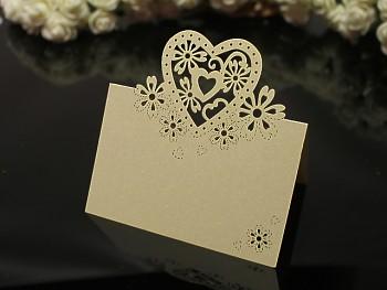 IVORY Luxusní PERLEŤOVÉ jmenovky ke stolu svatební srdce