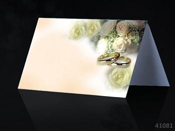 Svatební jmenovka ke stolu SMETANOVÁ s prstýnky
