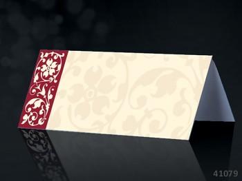 Svatební jmenovka ke stolu SMETANOVÁ s bordó ornamentem