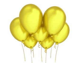 Nafukovací balónek ŽLUTÝ 27cm PERLEŤOVÝ extra pevný