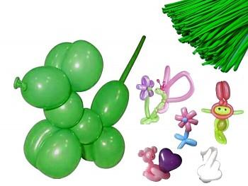 Italské modelovací balónky extra dlouhé ZELENÉ JABLKO, 1ks