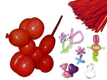 Italské modelovací balónky extra dlouhé ČERVENÝ, 1ks
