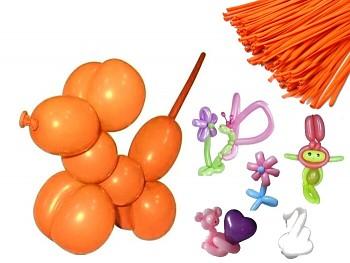 Italské modelovací balónky extra dlouhé ORANŽOVÉ, 1ks