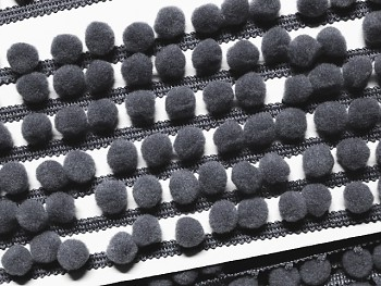 Prýmek bambulky 10 LUX šedý,  á 1m