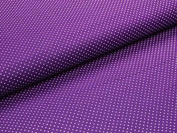 Puntíkovaná látka tmavě fialová mikro, á 1m