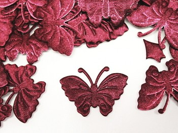 Aplikace saténová motýlek bordó, bal. 5ks