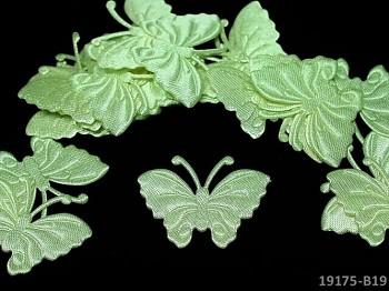 Aplikace saténová motýlek světle zelený, bal. 5ks