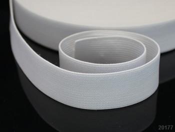 BÍLÁ plochá guma pruženka široká 20mm, 1 nebo 25m