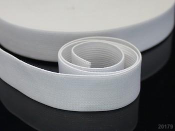BÍLÁ pruženka guma plochá široká 35mm, 1 nebo 25m