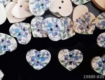 Dřevěné knoflíky KVĚTY srdce tisk,  á 1ks