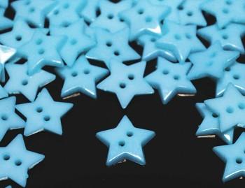 MODRÉ SVĚTLE knoflíky HVĚZDY hvězdičky, 1ks