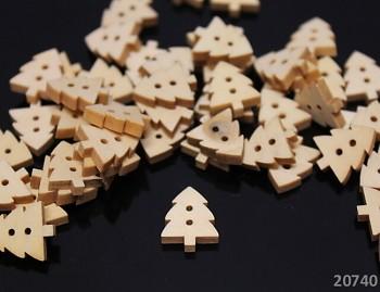 Dřevěné knoflíky STROM stromeček, 1ks
